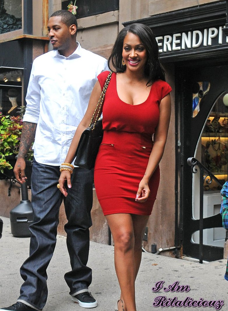 carmelo anthony and la la vazquez leave a restaurant in